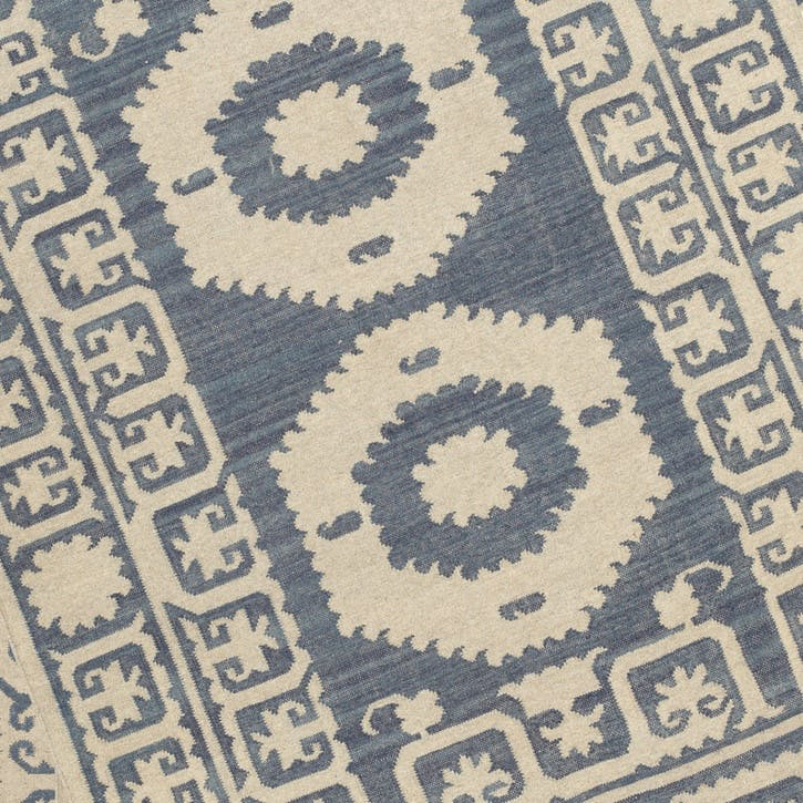 Chelak Indigo Wool Rug, Small