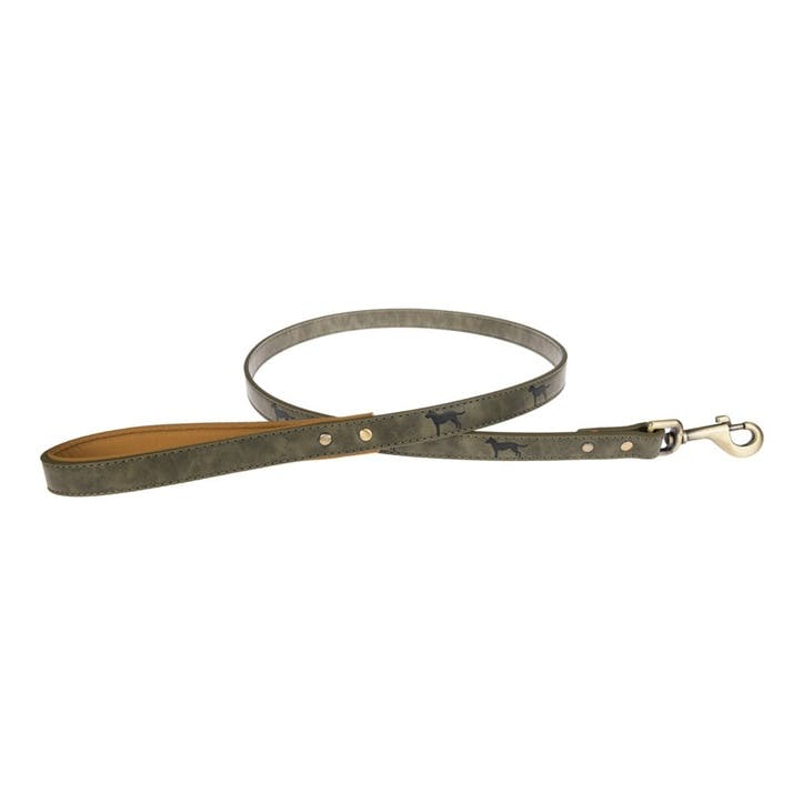 Faux Leather Dog Lead, Forest Green, Medium