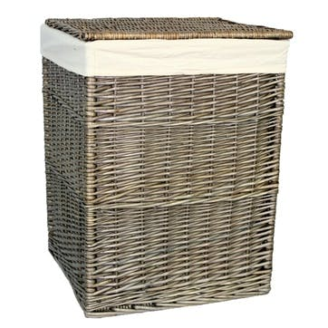 Square Laundry Basket With Oatmeal Lining, Large