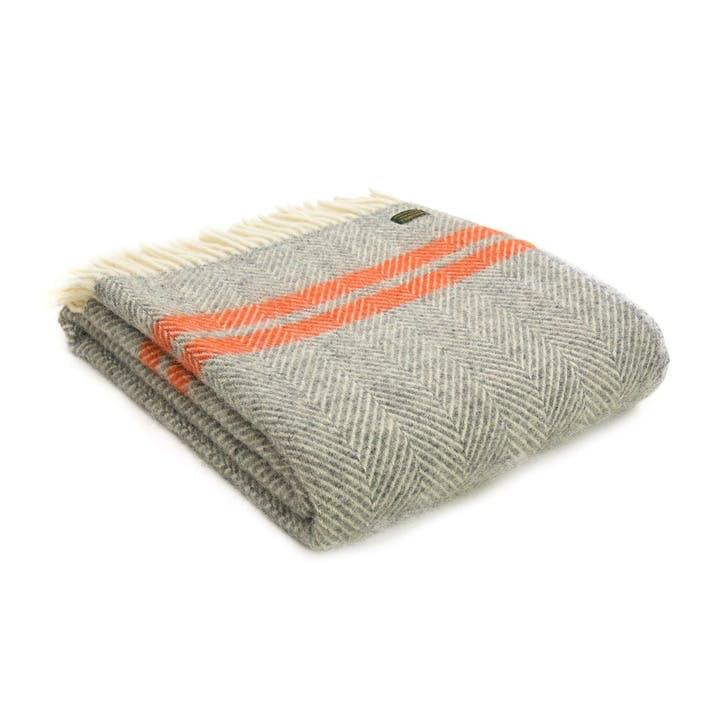 Fishbone 2 Stripe Throw; Grey & Pumpkin