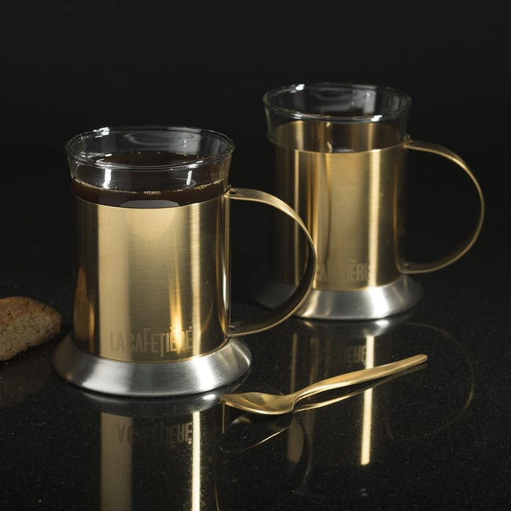 Edited Brushed Gold and Glass Cups, Set of 2