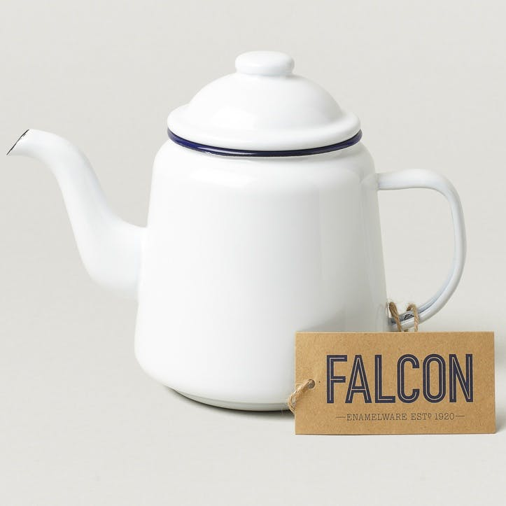 Teapot, White with Blue Rim