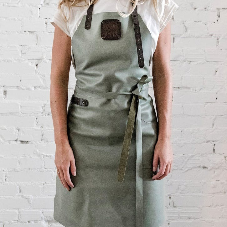 Leather Apron, Fitted, Olive/Grey