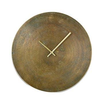 Okota Wall Clock, Antique Brass