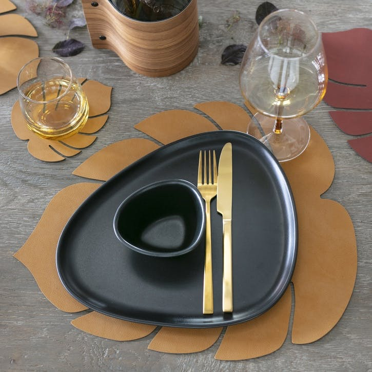 Monstera Placemat, Burned Curry, Set of 4
