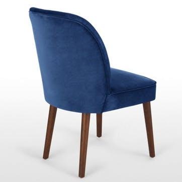 Margot Set of 2 Dining Chairs, Electric Blue Velvet