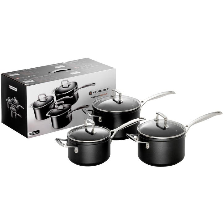 Toughened Non-Stick 3 Piece Saucepan Set