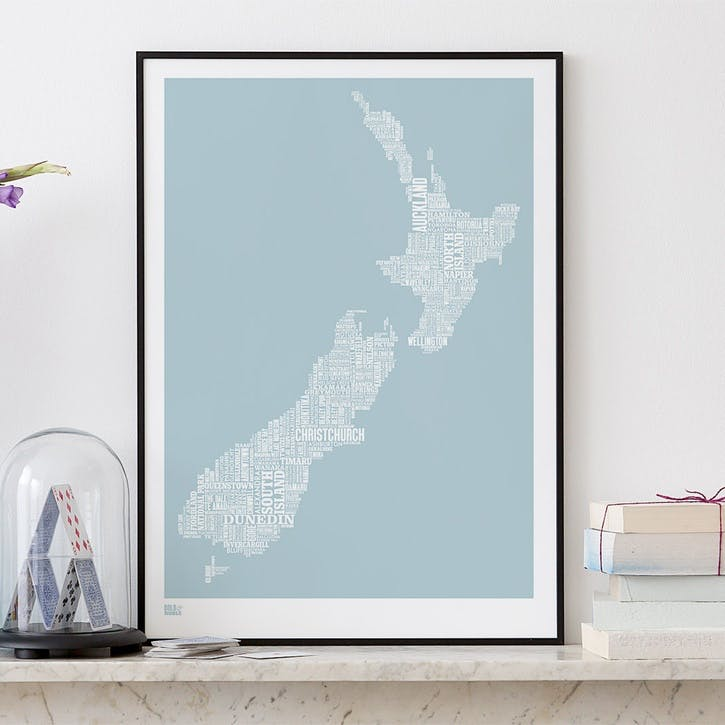 Type Map Screen Print New Zealand, 50cm x 70cm, Duck Egg Blue