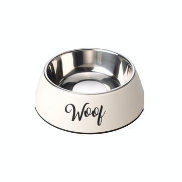 Woof 2 in 1 Dog Bowl, M, Cream