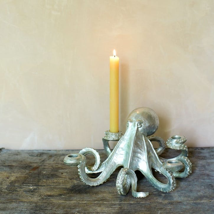 Octopus Candlestick, Silver