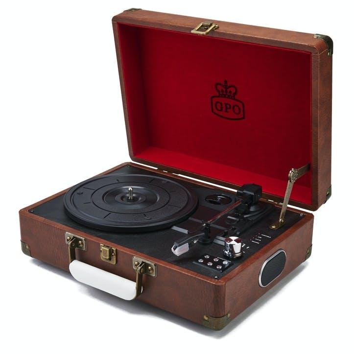 Attaché Case Turntable; Vintage Brown