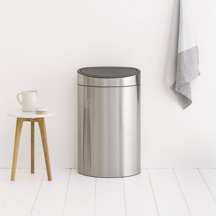 Touch Bin, 40L, Matt Steel Fingerprint Proof