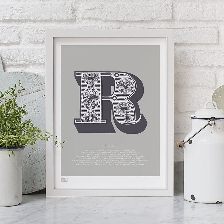 Illustrated letter R Screen Print, 30cm x 40cm, Putty