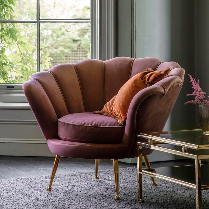 Marldon Velvet Armchair, Rose