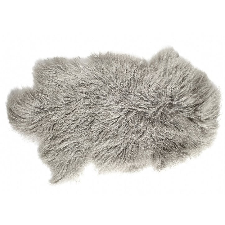 Tibetan Sheepskin Rug, Pale Grey