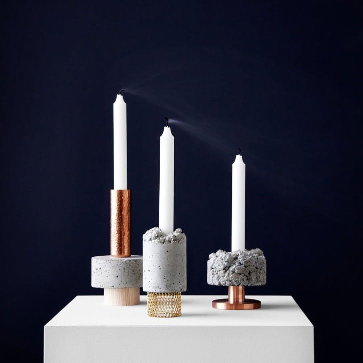 Crowd, Candle Holder, D7cm, Concrete with Brass Base