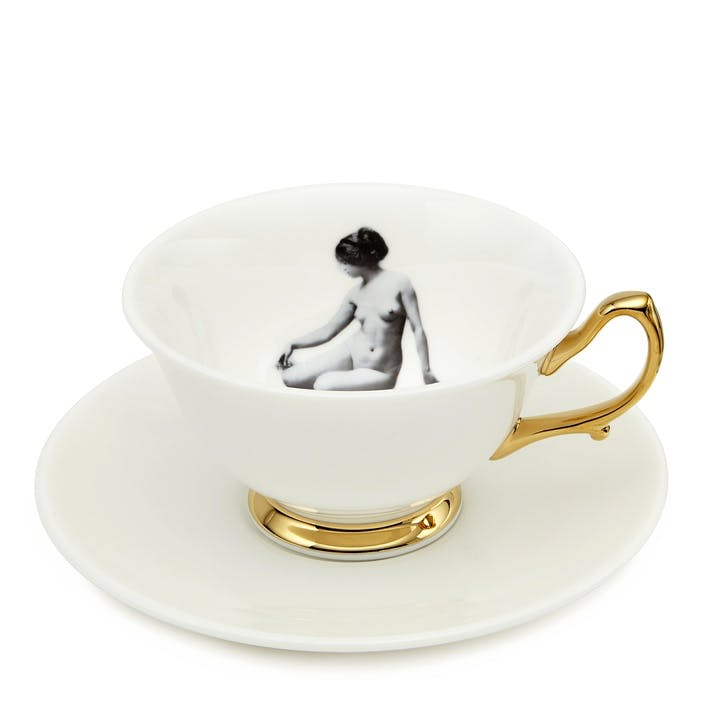 Modern Surrealist Girl in a Cup Tea Cup & Saucer
