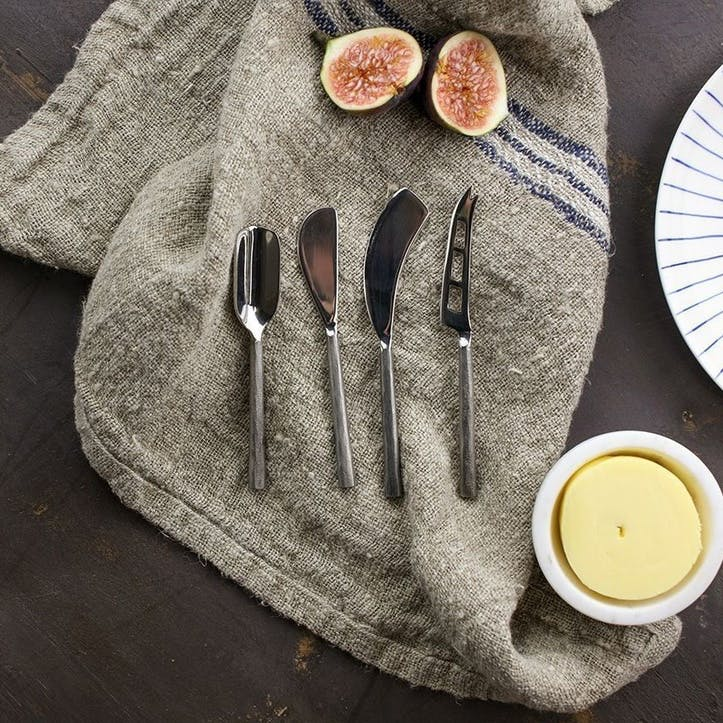 Darsa Cheese Knife Set; Brushed Silver