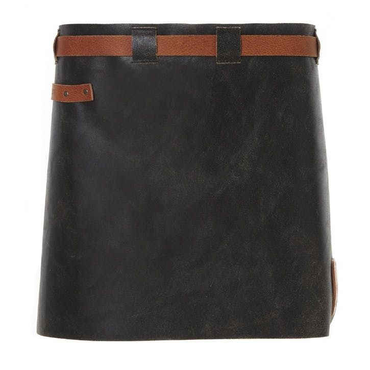Leather Waist Apron, Short, Black/Cognac