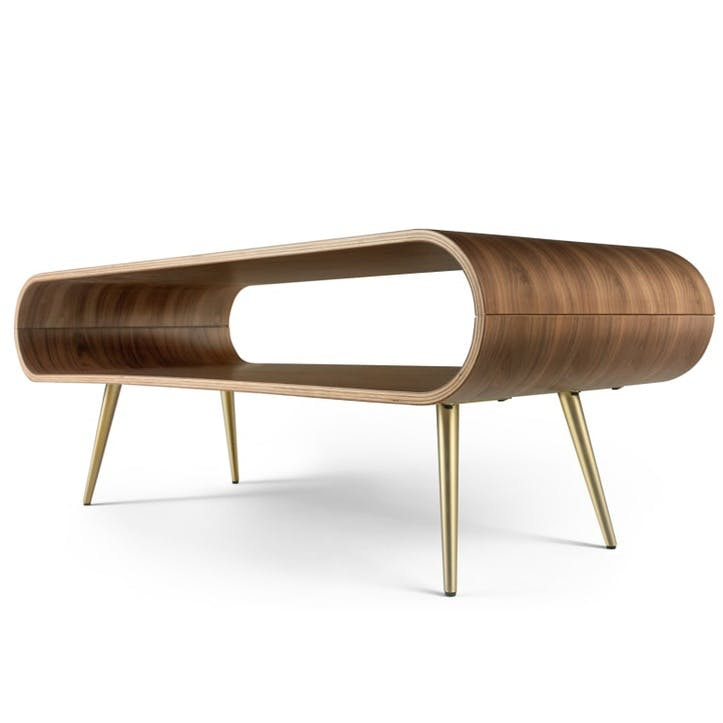 Hooper Storage Coffee Table, Natural Walnut and Brass