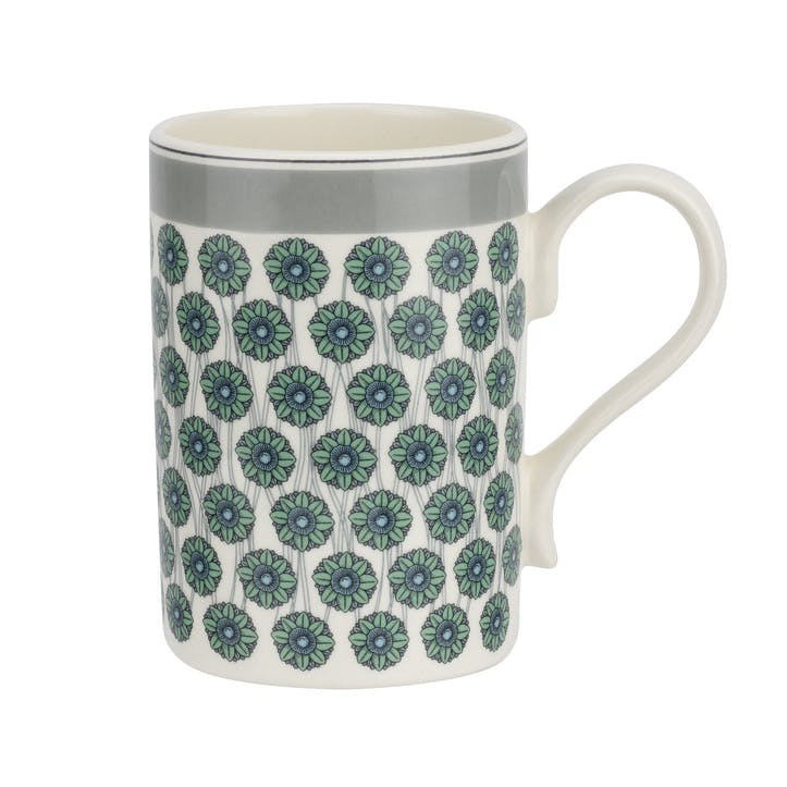 Westerly Mug, Set of Four - 12oz; Grey Band