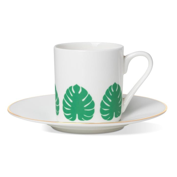 Tropical Leaf Espresso Cup and Saucer
