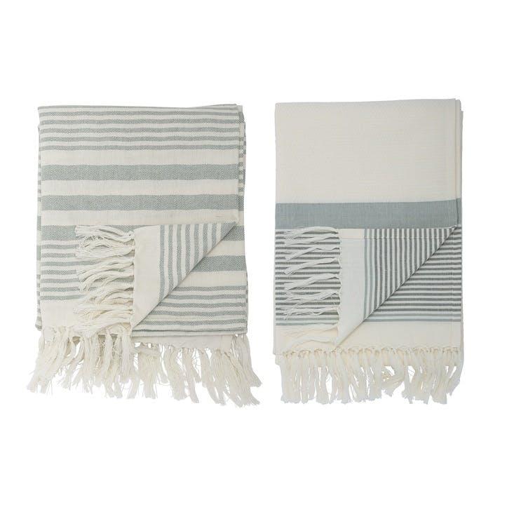 Cotton Hammam Towel, Set of 2, Large, Green