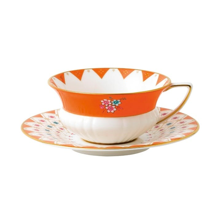 Wonderlust Peony Diamond Teacup & Saucer