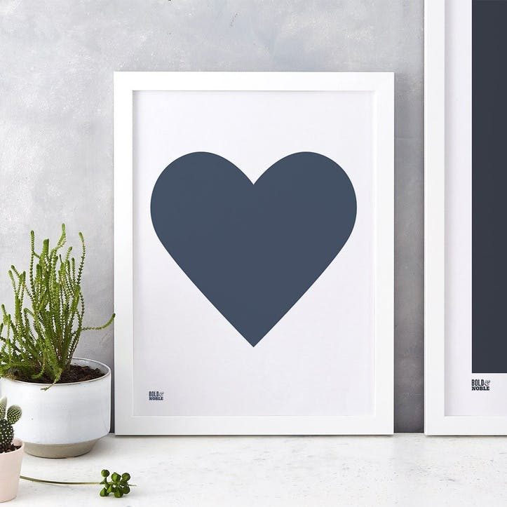 Love Heart Print; Navy on White