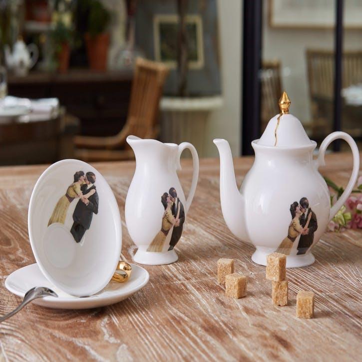 Modern Surrealist Kissing Couple Tea Cup & Saucer