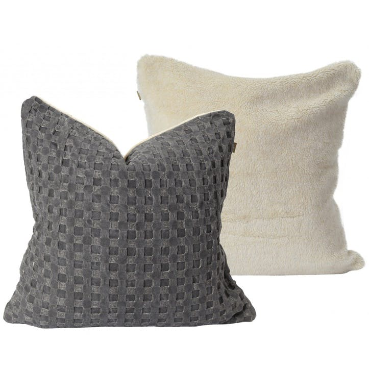 Waffle Cushion with Sherpa Fleece, Grey