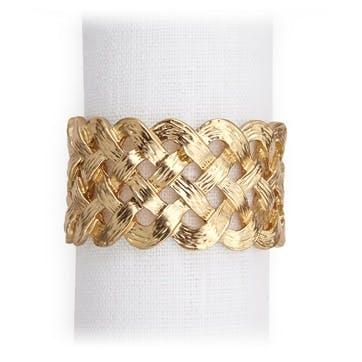 Braid Napkin Rings, Gold, Set of 4