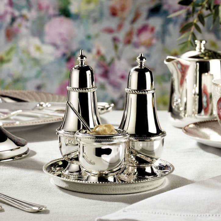 3 Piece Silver Plated Condiment Set with Tray