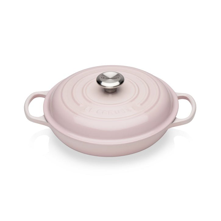 Cast Iron Shallow Casserole, 26cm, Shell Pink