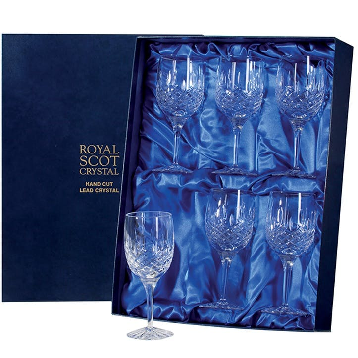 London Large Crystal Wine Glasses, Set of 6