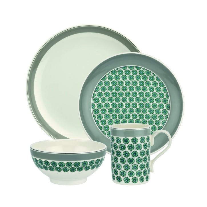 Westerly Four Piece Dinnerware Set; Grey Band
