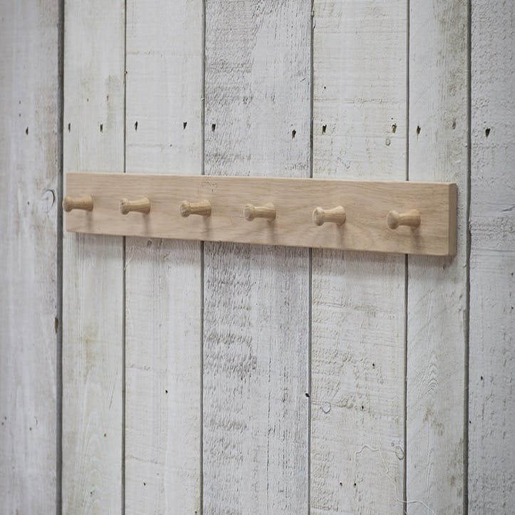 Hambledon Raw Oak Peg Rail, 6 Hooks