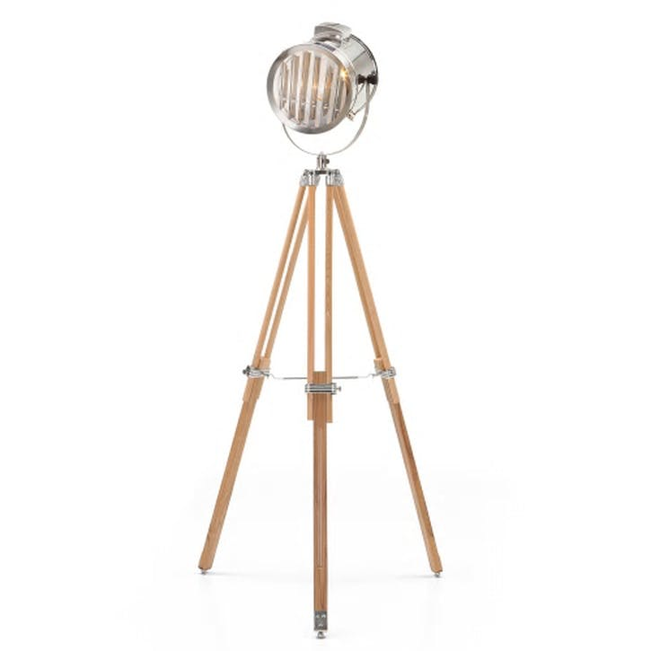 Alfred Tripod Floor Lamp; Natural Wood