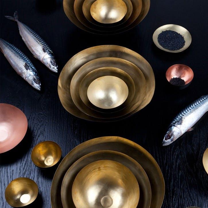 Form Set of 5 Bowls - Large; Brass