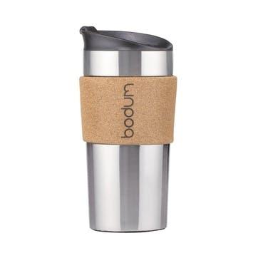 Travel Mug, 350ml, Silver/Cork