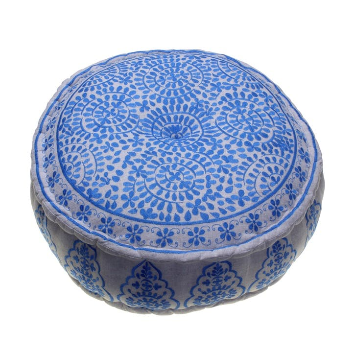 Nomad Embroidered Pouff, 60cm, Blue