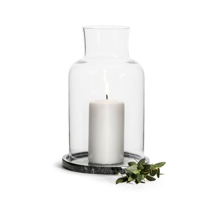 Candle Holder With Marble Base, Natural