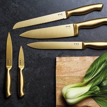 Metallics 5-Piece Brass-Coloured Stainless Steel Knife Block Set