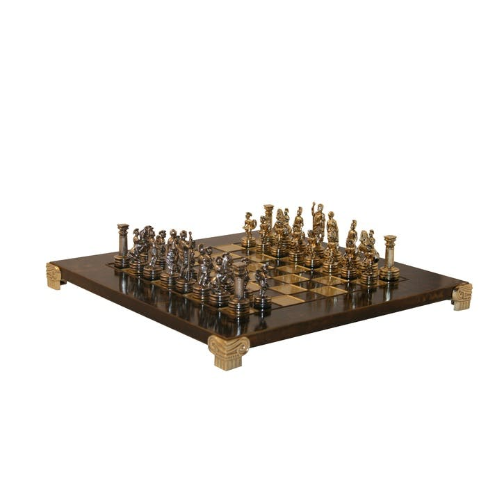 Greek Roman Chess Set, 28cm; Brown