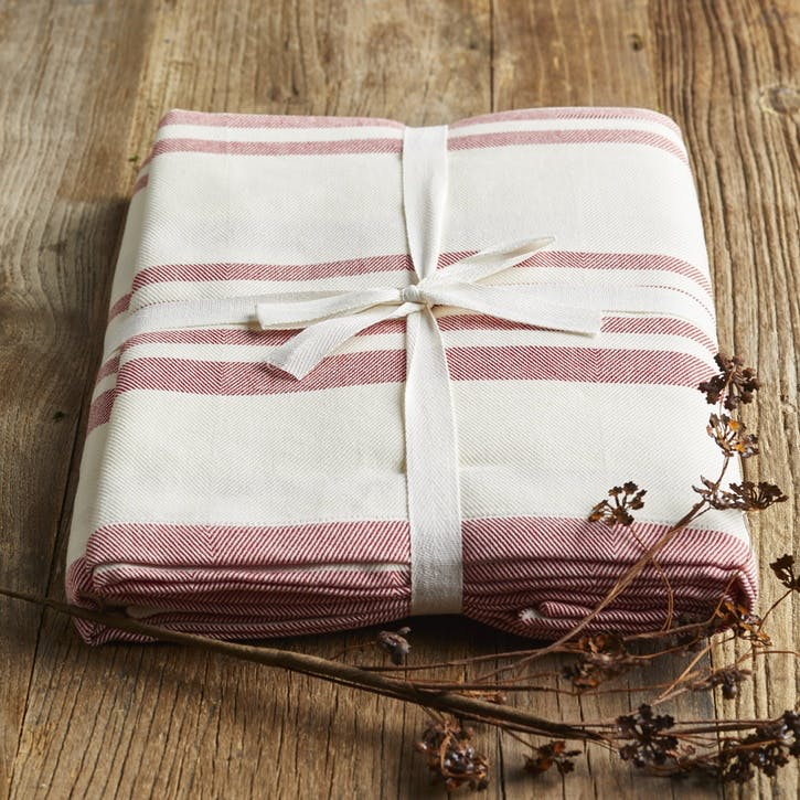 Modern Rustic Berry Stripe Tablecloth