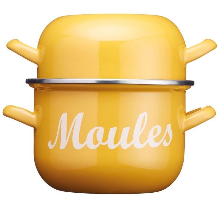 World of Flavours Enamel Mussel Pot, Yellow