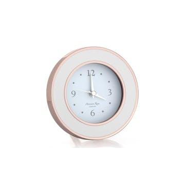 Alarm Clock; Rose Gold & White Enamel