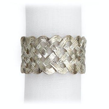 Braid Napkin Rings, Platinum, Set of 4