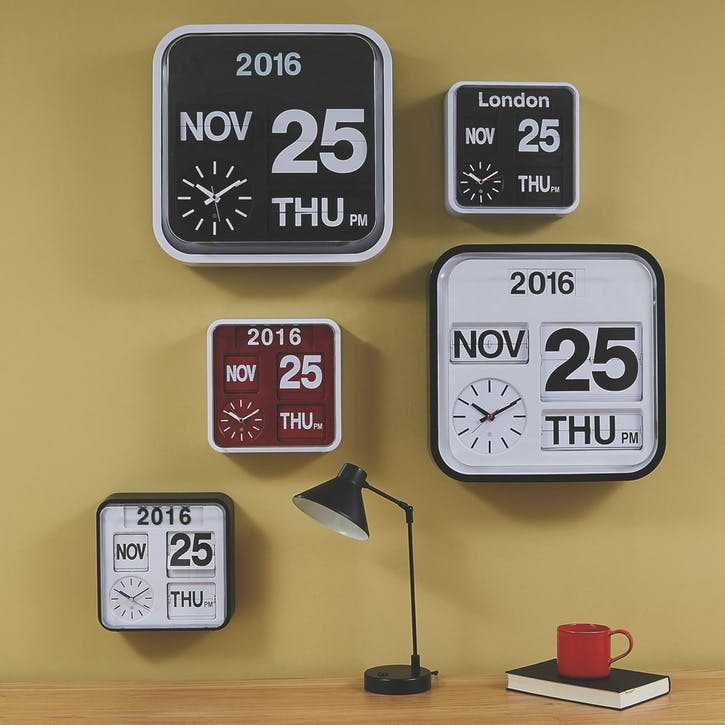 Flap Analogue Wall Clock, Small, White