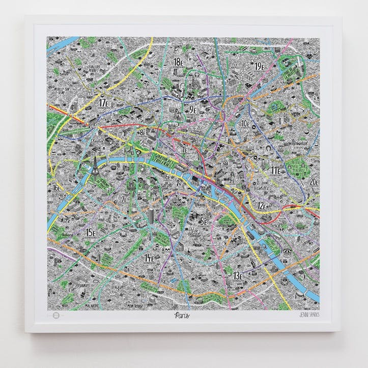 Hand Drawn Map of Paris, 61cm x 61cm